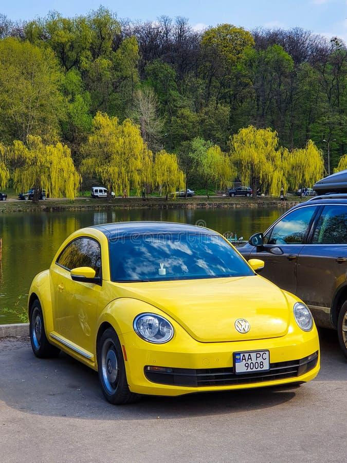 Kiew, Ukraine, im April 2019: Gelbes Volkswagen Beetle im Stadtpark, Kiew, Ukraine lizenzfreie stockfotos