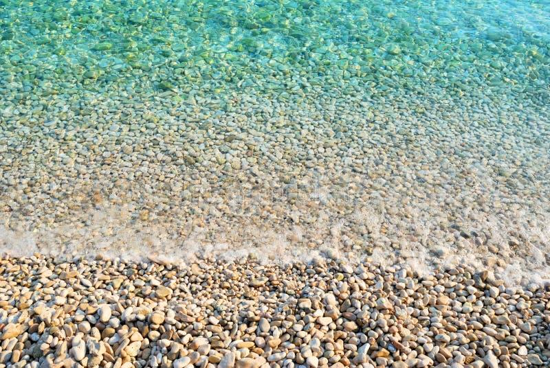 Kiezelsteenstrand met azuurblauwe zeewatertextuur stock afbeeldingen