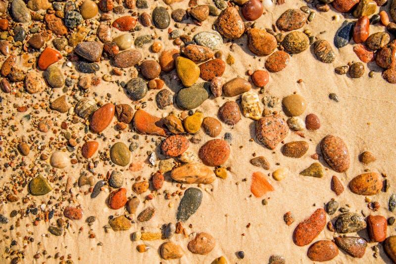 Kiezelstenenstenen op een zandig strand stock foto