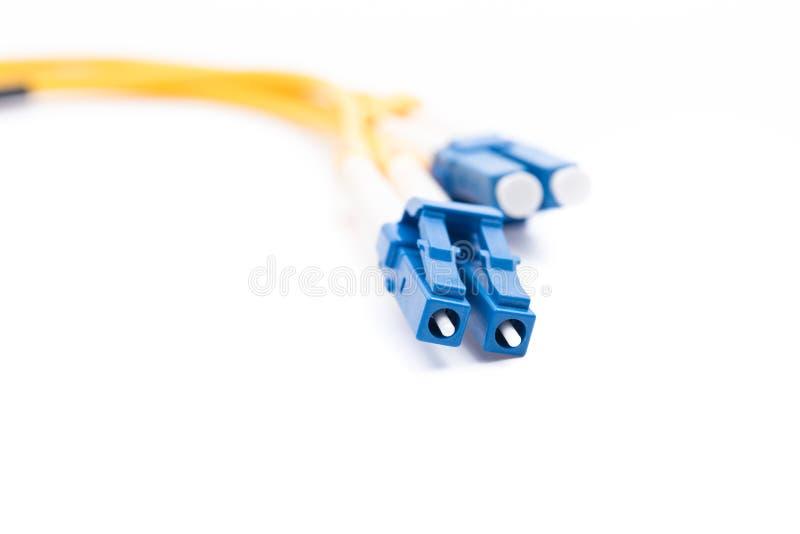 Kiezen de vezel optische kabels geïsoleerde uit wijze LC stock afbeeldingen