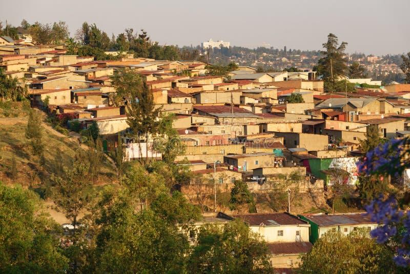 Kigali hus i Rwanda royaltyfri fotografi