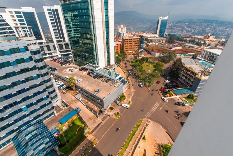 Kigali, Ruanda - 21 settembre 2018: ampio guardare dall'alto in basso di vista fotografie stock libere da diritti