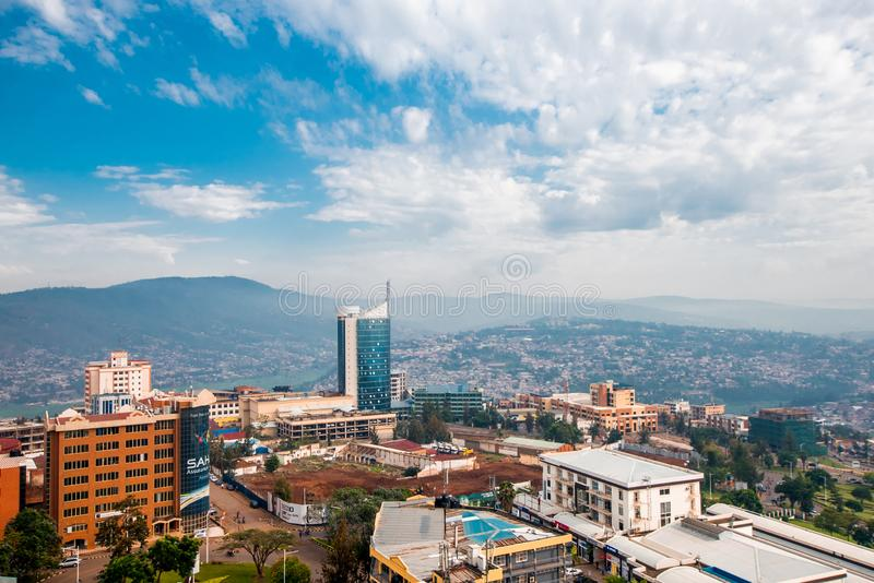 Kigali, Ruanda - 21 settembre 2018: un ampio looki di vista panoramica fotografie stock