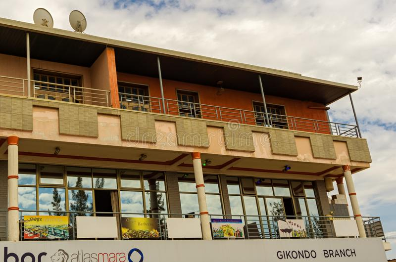 This is the upper part of the building. KIGALI,RWANDA - OCTOBER 18,2017: Gikondo This is the upper part of the building where a Gikondo Branch Bank is.It`s in KK stock image
