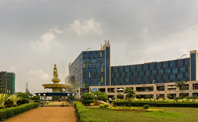 There is the Kigali Heights shopping mall with shops and restaurants stock photo