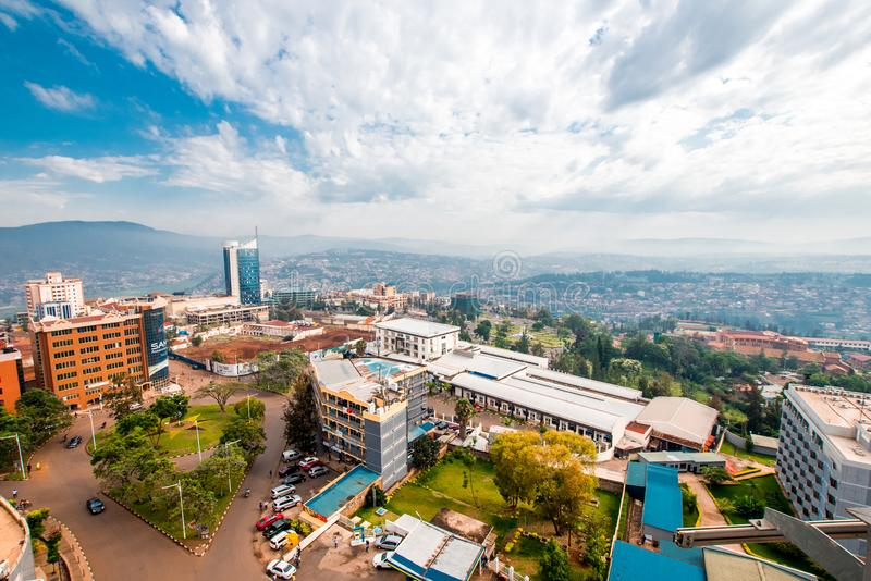Kigali, Rwanda - September 21, 2018: een breed, vegend panorama o royalty-vrije stock foto