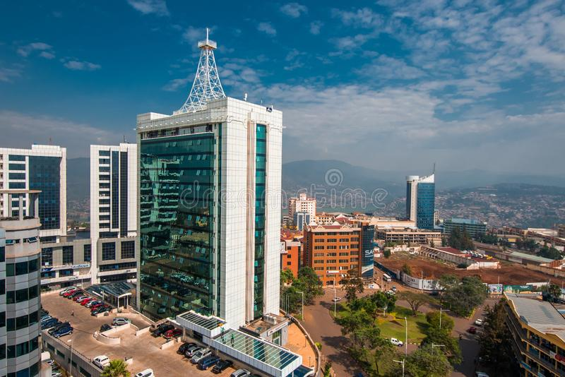 Kigali, Rwanda - September 21, 2018: a wide view looking down on royalty free stock photos