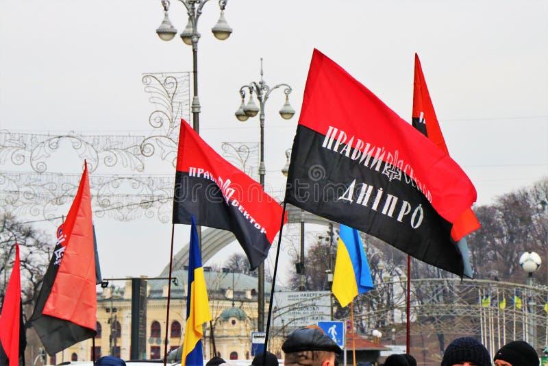 Kijów, Ukraina Ukraińscy nacjonaliści demonstrują w centrum miasta z UPA flagami zdjęcie royalty free