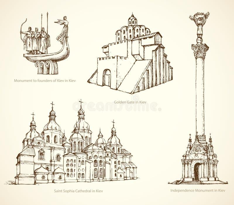 Kijów sławni dziejowi zabytki Wektorowy nakreślenie royalty ilustracja