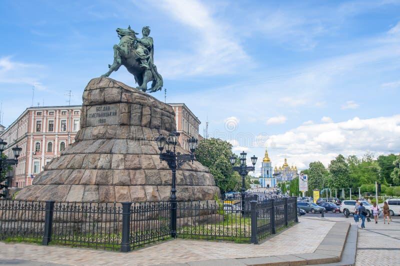 Kijów, Ukraina, Bohdan Khmelnitsky Chmielnicki zabytek zdjęcia stock