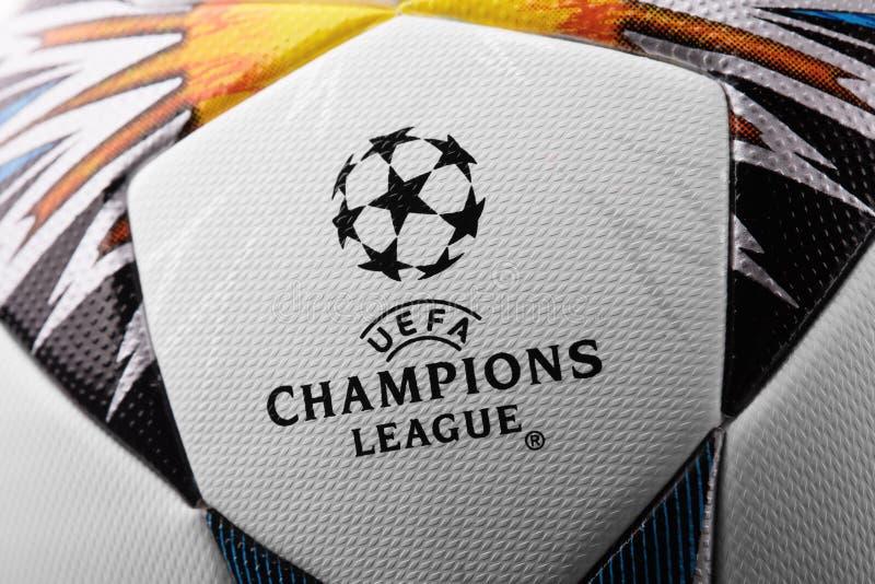 Kijów Ukraina, Luty, - 22, 2018: Uefa urzędnika Adidas champions league piłki nożnej 2018 Definitywna piłka obraz stock