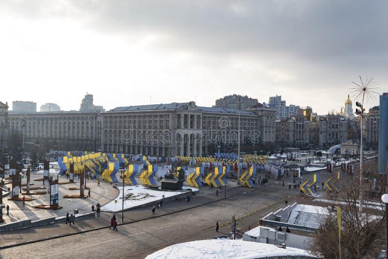 Kijów, Ukraina, niezależność kwadrat, Luty 17, 2018 obraz stock