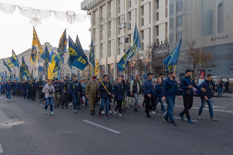 Kijów Ukraina, Październik, - 14, 2018: Aktywiści partie polityczne i ruchy na marszu w części wakacyjny obrońca zdjęcia stock