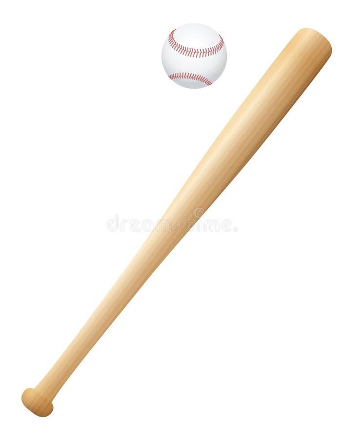 Kij bejsbolowy i piłka ilustracja wektor