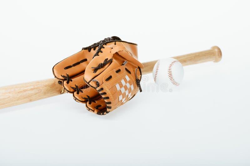 Kij bejsbolowy, piłka i mitenka, obrazy stock