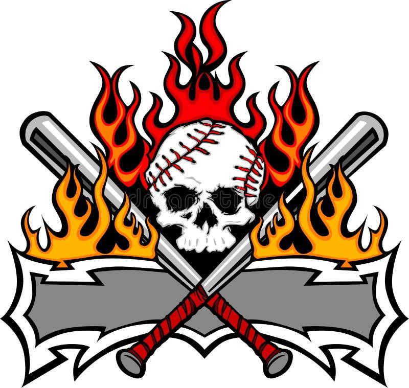 kij bejsbolowy target583_0_ czaszki softballa szablon ilustracji