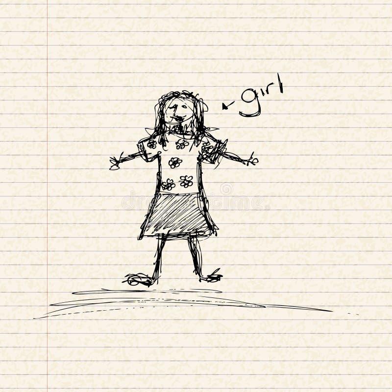 Kij dziewczyna w kwiaciastym wierzchołku royalty ilustracja