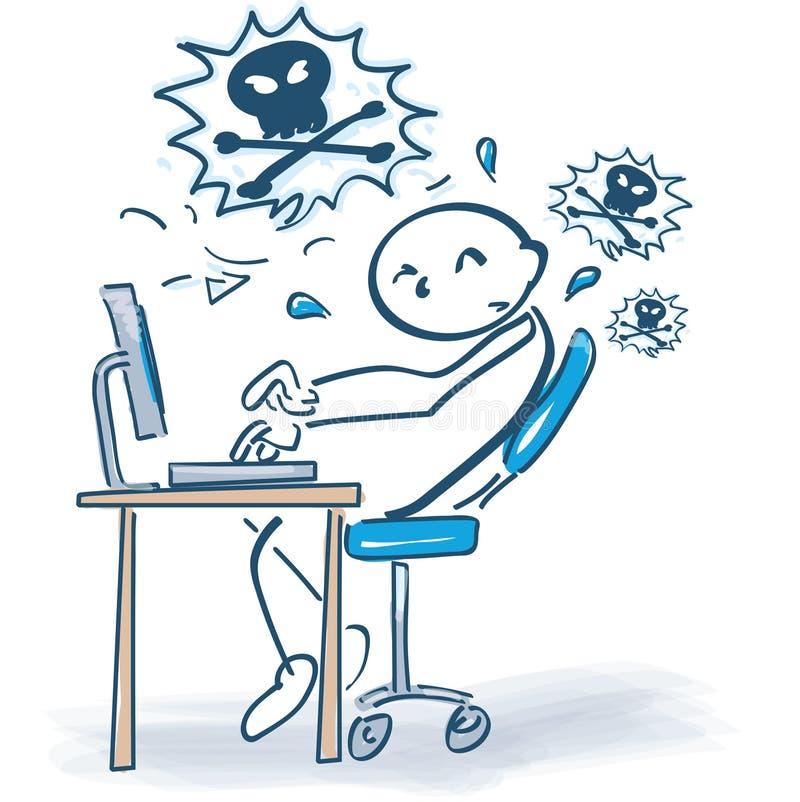 Kij frustracja przy komputerem i postać royalty ilustracja