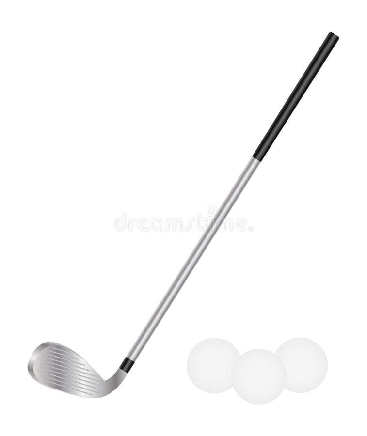 Kij golfowy i piłka golfowa royalty ilustracja