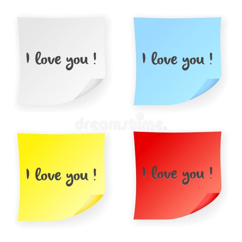 Kij notatka kocham ciebie ilustracji