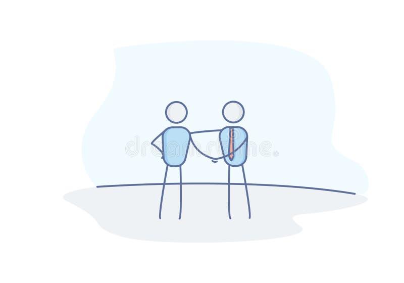 Kij oblicza ludzi biznesu trząść ręki Biznesowy uścisk dłoni reprezentuje transakcję, partnerstwo, pracę zespołową, zaufanie i zg ilustracji