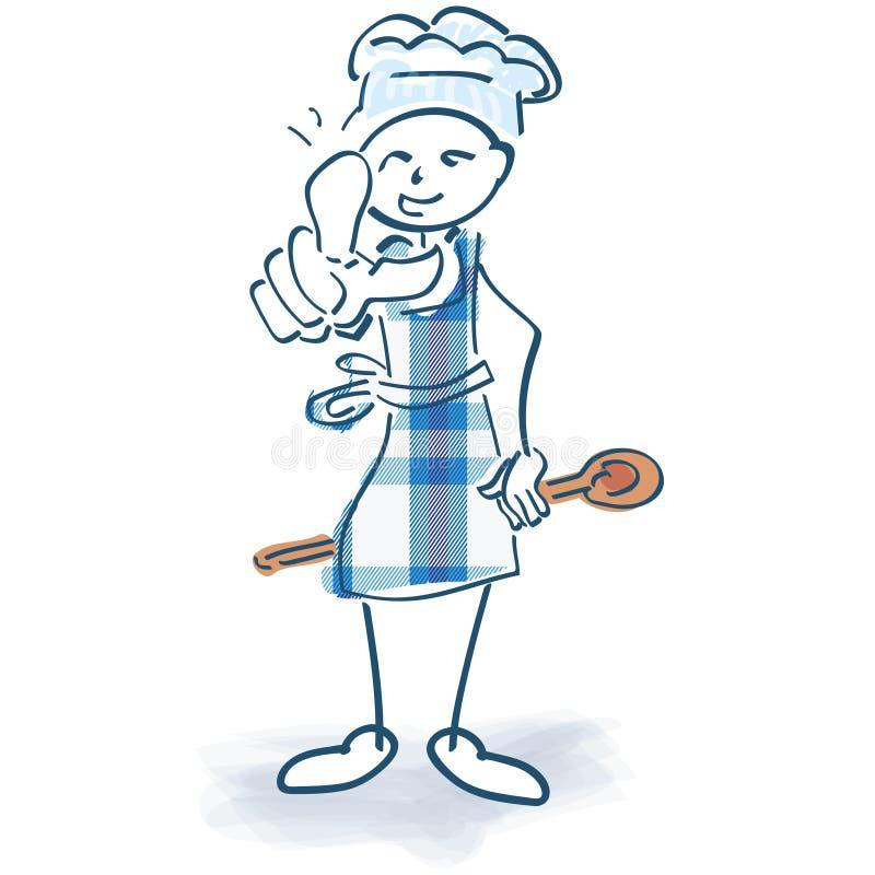 Kij postać jak kucharz z kucharstwo poradami ilustracji