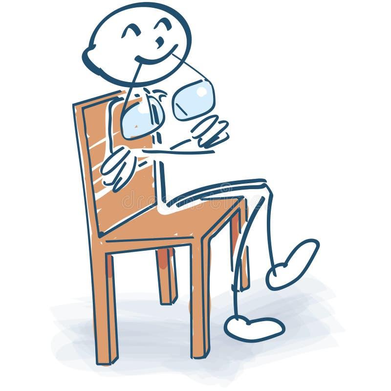 Kij postać na krzesła główkowaniu ilustracji