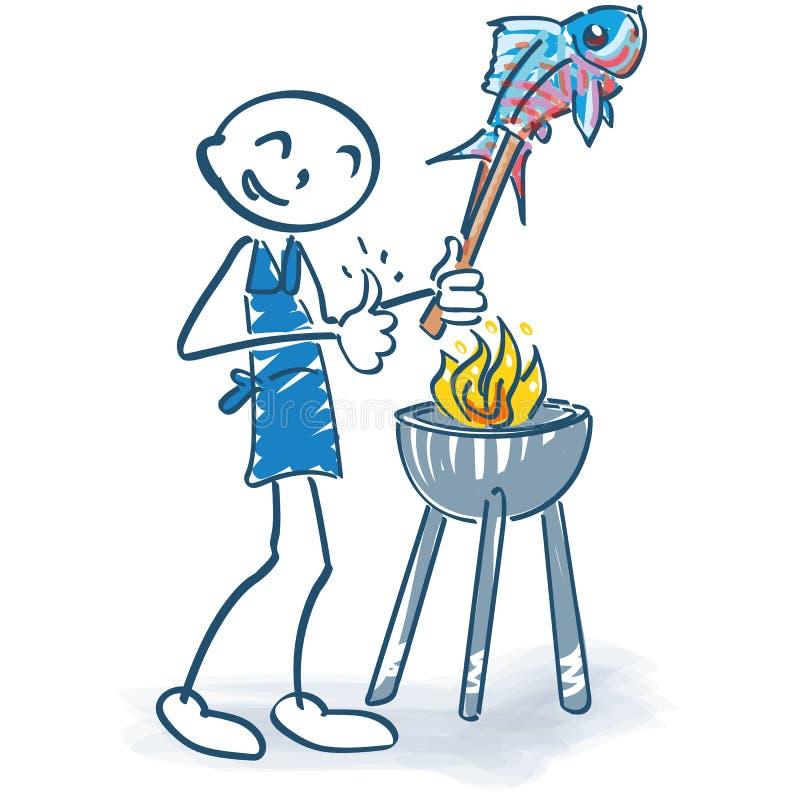 Kij postać piec na grillu ryby ilustracji