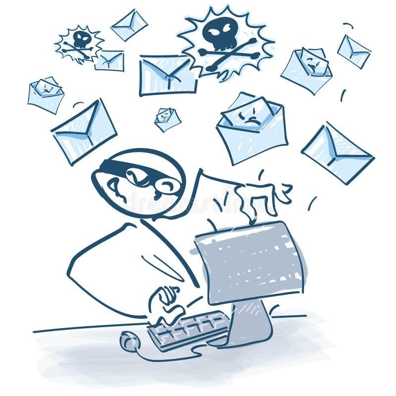 Kij postać przy komputerowymi wysyłek poczta ilustracja wektor