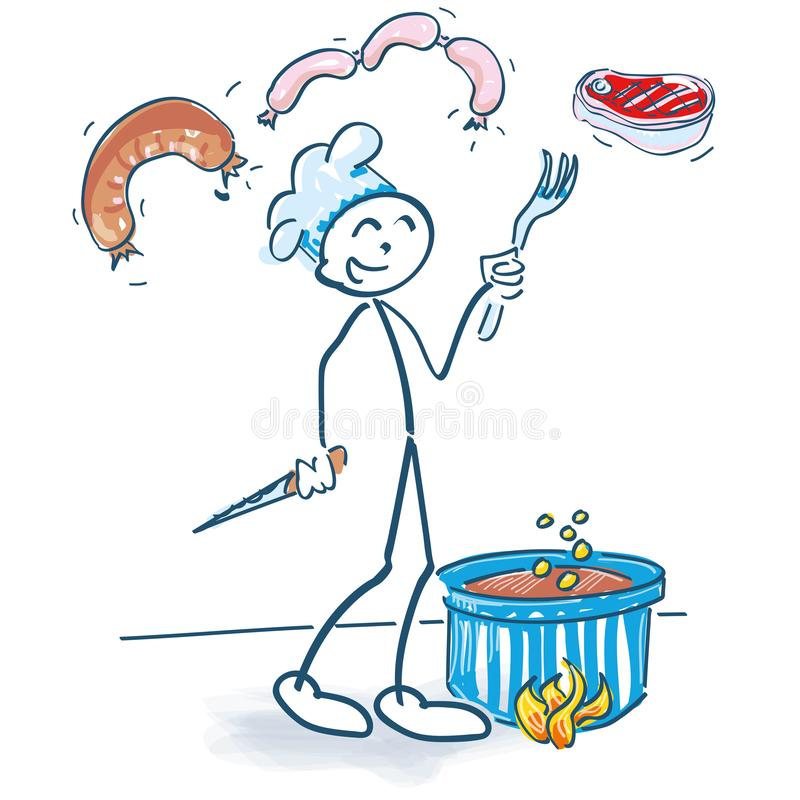 Kij postać z rondlem i meaty jedzeniem royalty ilustracja