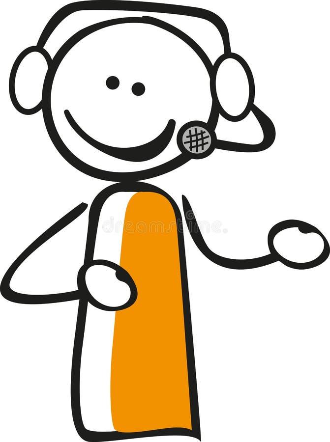 Kij postać z słuchawki ilustracja wektor