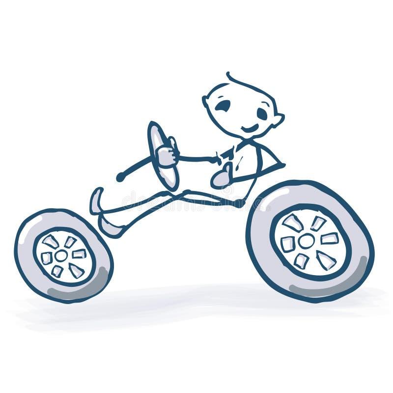 Kij postać z samochodem ilustracji