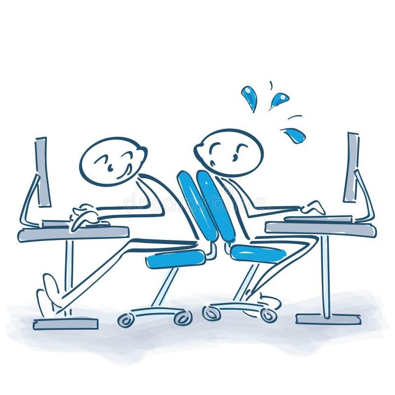 Kij postać z tocznym biurowym krzesłem ilustracji