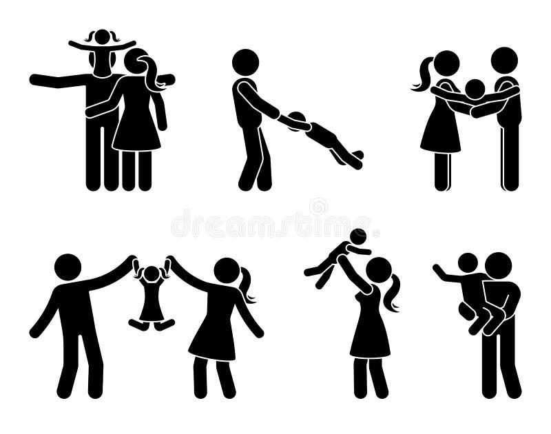 Kij postaci aktywności ikony szczęśliwy rodzinny set Ojciec i matka z dzieciakami bawić się plenerowego piktogram ilustracja wektor