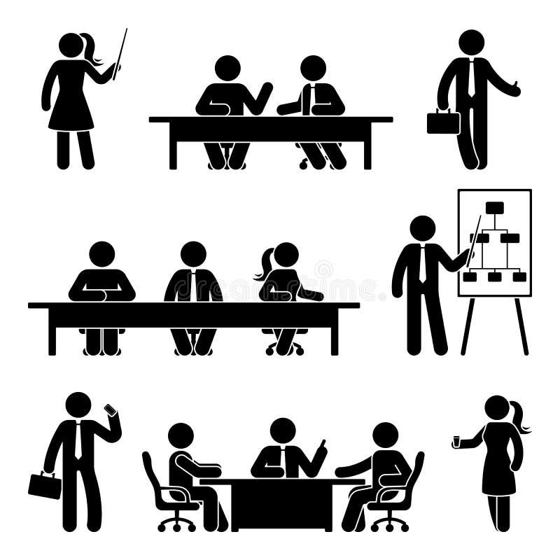 Kij postaci biznesowego spotkania ikony set ilustracji