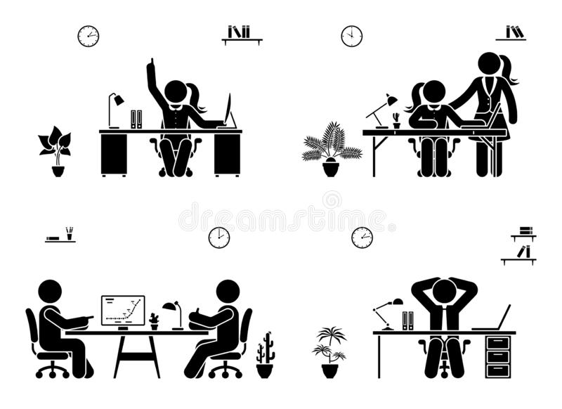 Kij postaci biznesowego spotkania ikony set Mężczyźni i kobiety pracuje w biurowym piktogramie royalty ilustracja