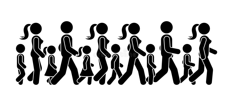 Kij postaci chodzącego grupa ludzi ikony wektorowy set Mężczyzny, kobiety i dzieci sekwencji poruszający piktogram, naprzód royalty ilustracja