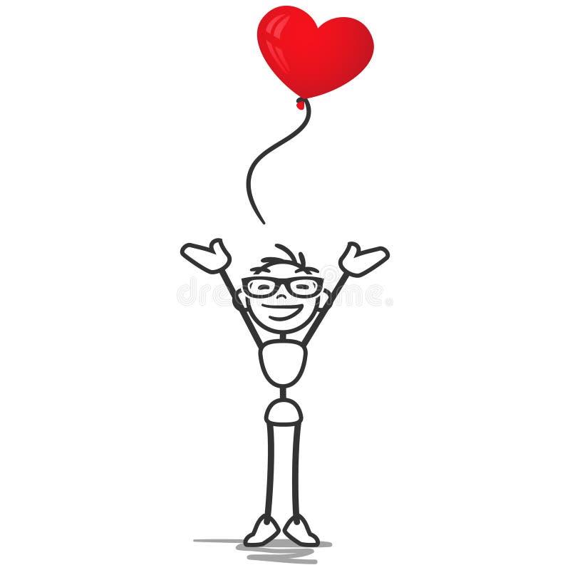 Kij postaci chory mężczyzna w miłość balonu sercu ilustracji