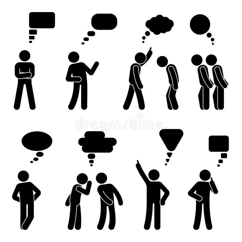 Kij postaci dialog mowy bąble ustawiający Opowiadający, myśleć, szepczący języka ciała mężczyzna rozmowy ikony piktogram royalty ilustracja