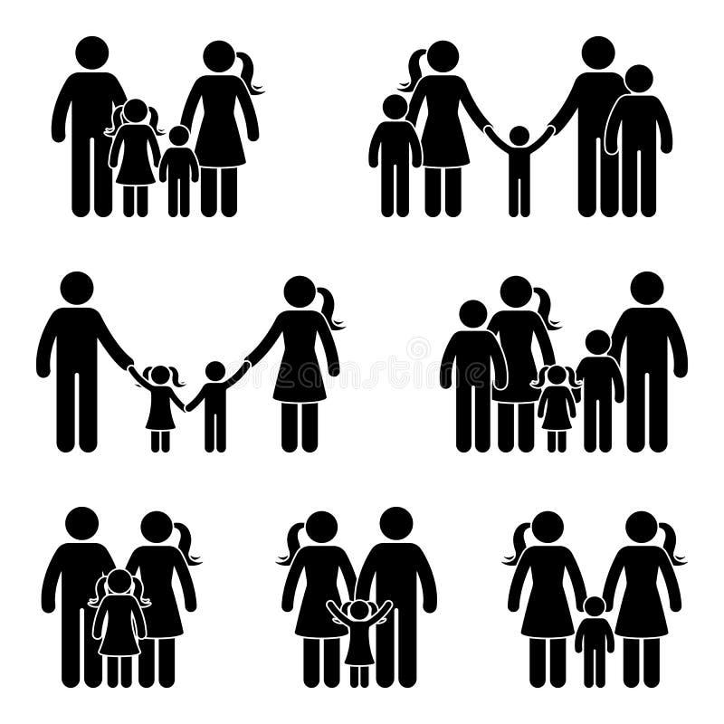 Kij postaci ikony rodzinny set royalty ilustracja