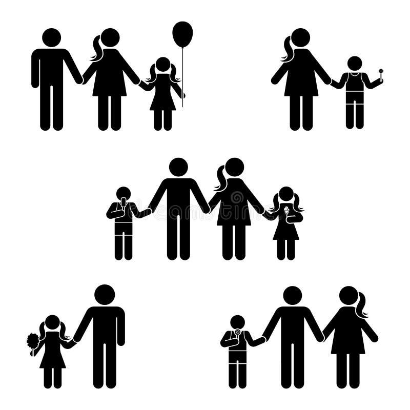 Kij postaci ikony rodzinny set Postury wektorowa ilustracja pozycja mężczyzna kobiety potomstw symbolu znaka piktogram na bielu royalty ilustracja
