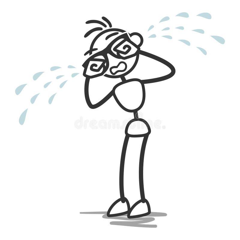 Kij postaci kija mężczyzna płaczu łzy ilustracji