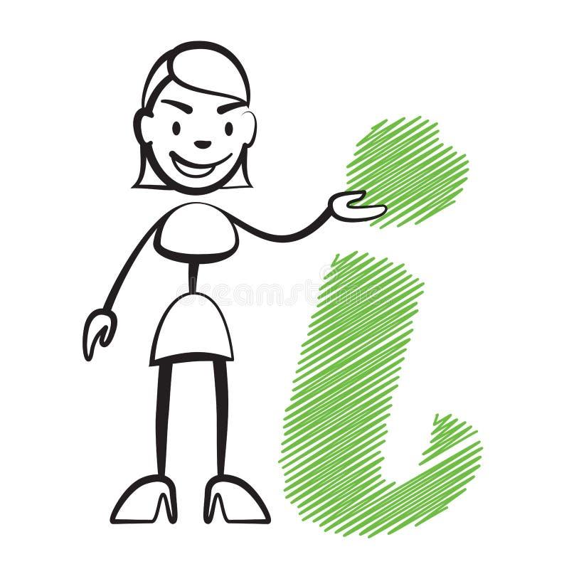 Kij postaci kobieta z informacja znakiem ilustracja wektor