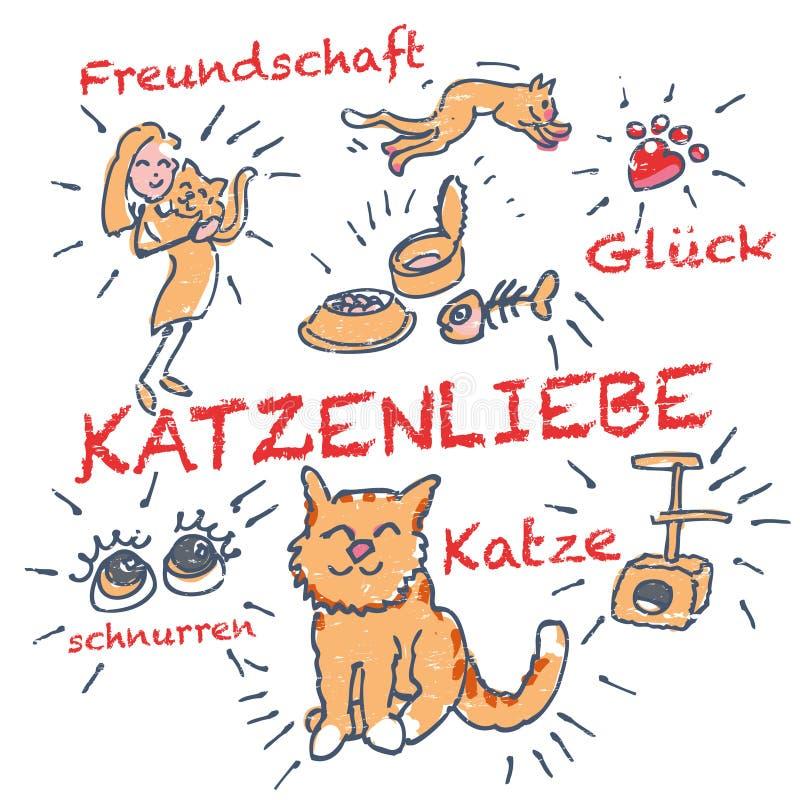Kij postaci kot i kot miłość ilustracji
