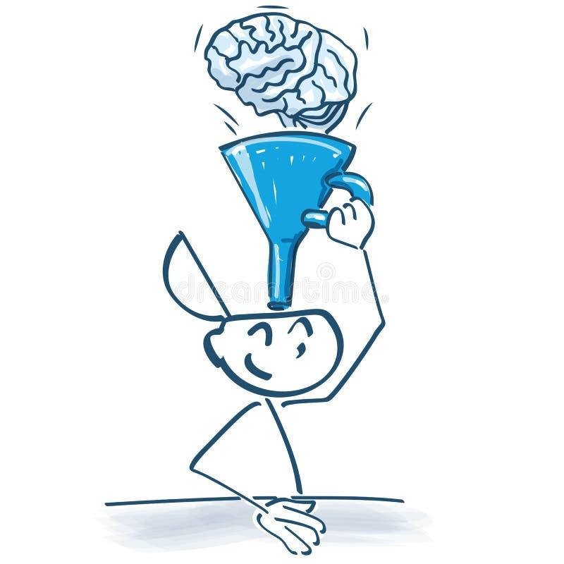 Kij postaci leje z tulejową wiedzą w mózg ilustracji