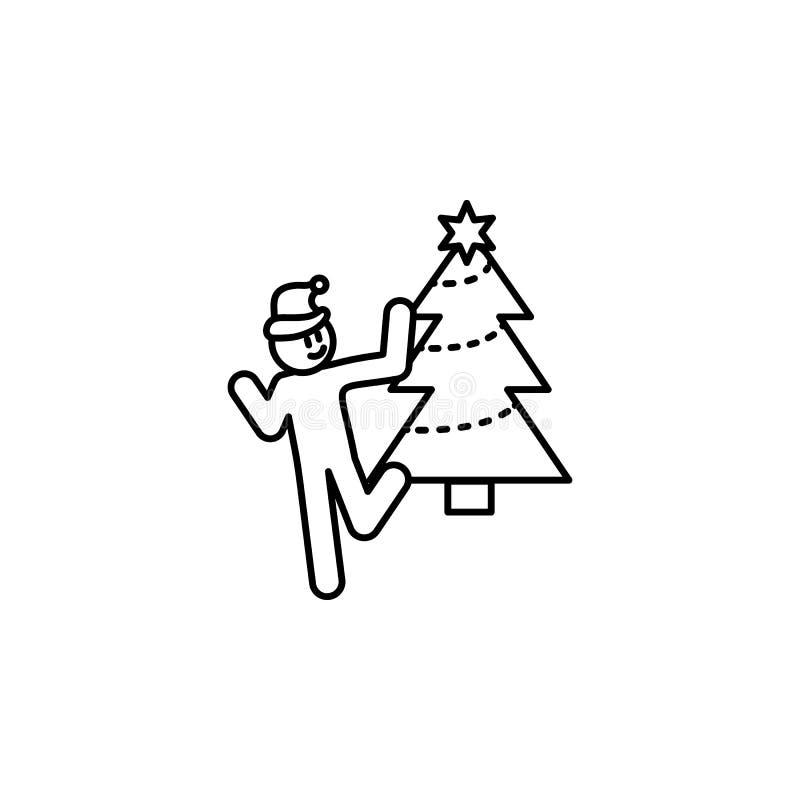 Kij postaci mężczyźni przy nowego roku przyjęcia ikoną Szczęśliwy ludzki dancingowy pobliski drzewny piktogram royalty ilustracja