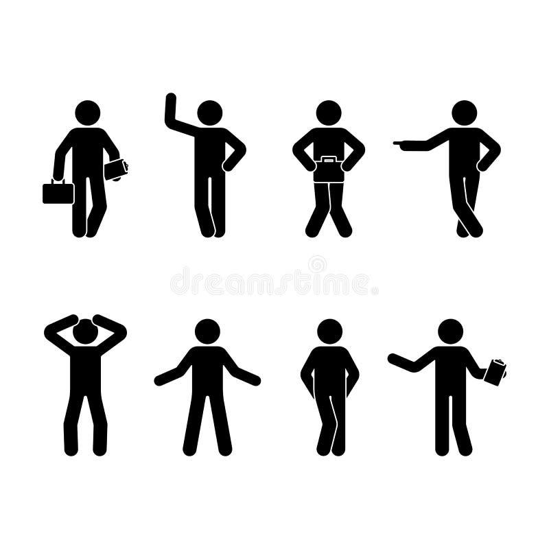 Kij postaci mężczyzna różne pozycje ustawiać Wektorowa ilustracja trwanie biznesowa osoba na bielu ilustracja wektor