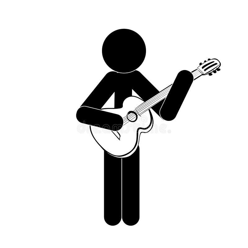 Kij postaci mężczyzna stoi klasyczną gitarę i bawić się obraz royalty free