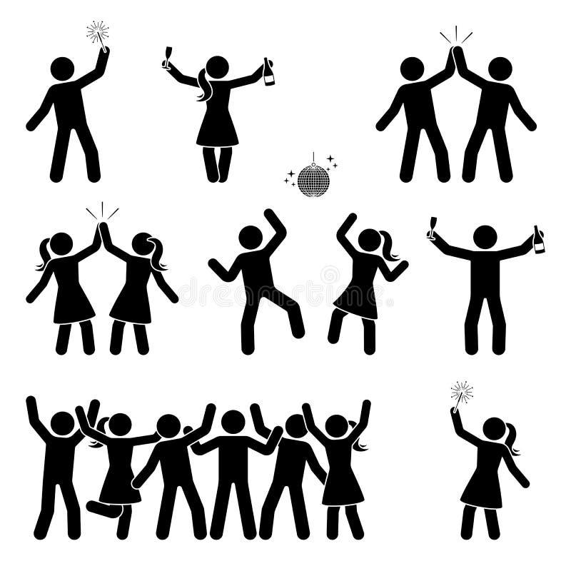 Kij postaci odświętności ikony setu ludzie Szczęśliwi mężczyzna i kobiety tanczy, skaczący, ręki up piktogram ilustracja wektor