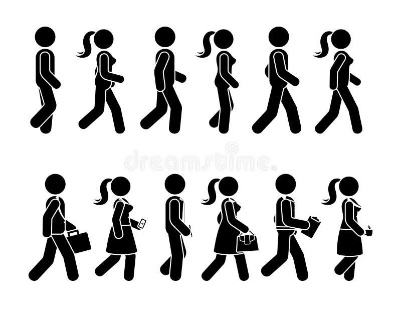 Kij postaci odprowadzenia kobiety i mężczyzny ikony wektorowy set Grupa ludzi sekwencji poruszający piktogram naprzód ilustracja wektor